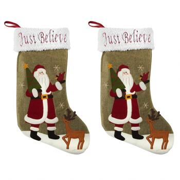 """Just Believe"" Santa Stockings with Sherpa Cuff, Set of 2"