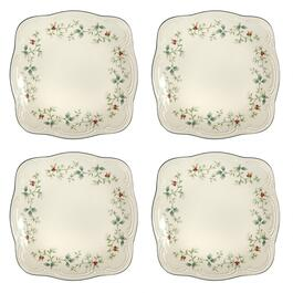 Famous Maker Winterberry Square Dinner Plates, Set of 4