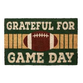 """Grateful For Game Day"" Football Coir Door Mat"