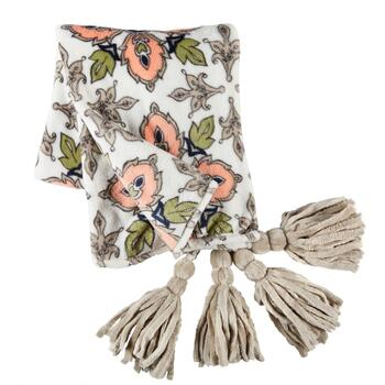 Evolution™ Coral/Green Floral Tassel Throw Blanket