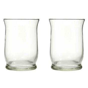 "8"" Adorn Glass Hurricane Candle Holders, Set of 2"