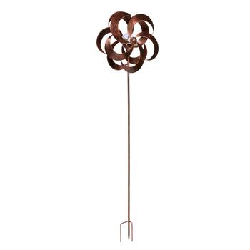 "60"" Copper Solar Wind Spinner Garden Stake"