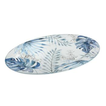 "Coastal Living Seascapes™ 14""x19.75"" Blue Palm Leaves Serving Platter"
