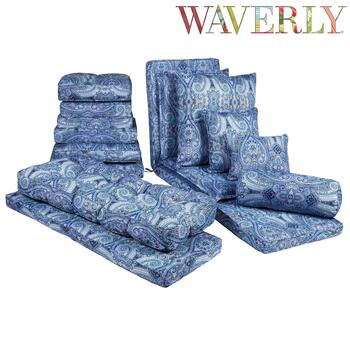 Waverly® Blue Paisley All-Weather Chair Cushions Collection