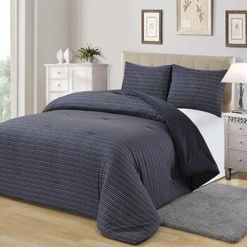 Blue/White Stripe Cotton Comforter Set