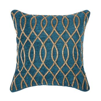 Solid Geo Beaded Square Throw Pillow view 1