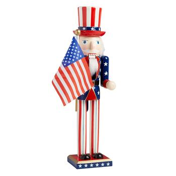 "15"" Uncle Sam Nutcracker with American Flag"