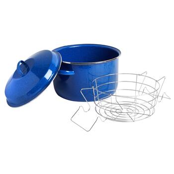 24-Qt. Blue Enamel Stock Pot with Insert