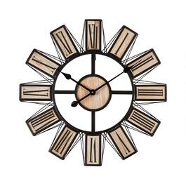 "24"" Metal/Wood Spokes Roman Numeral Wall Clock"