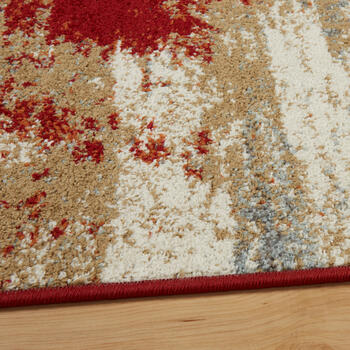 "6'6""x9'4"" Red/Tan Abstract Frieze Area Rug view 2"
