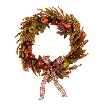 "The Grainhouse™ 22"" Pumpkins and Apples Artificial Twig Wreath"