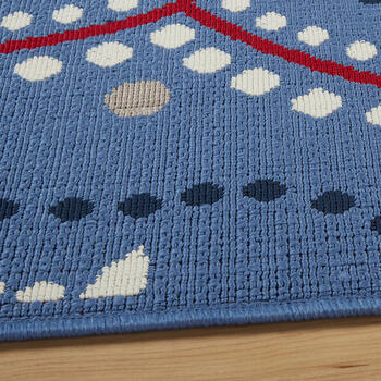 Blue/Red Medallion All-Weather Area Rug view 2