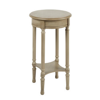 Gray Round Accent Table with Square Shelf view 1