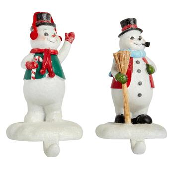 Waving Broom and Candy Cane Snowmen Stocking Holders, Set of 2