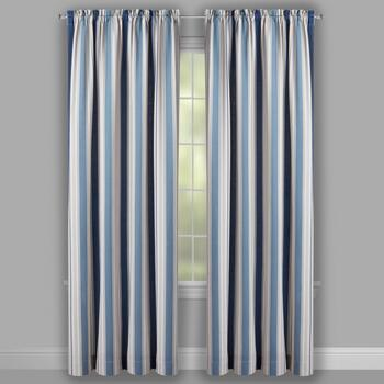 Traditions by Waverly® Indigo Multi-Stripe Window Curtains, Set of 2 view 2