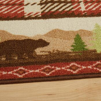 5'x7' Red Plaid Hand-Hooked Area Rug view 2