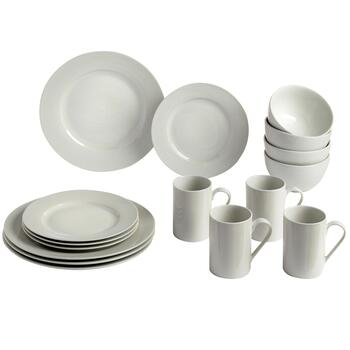 Bistro Basics Porcelain White Rim Dinnerware Set, 16-Piece