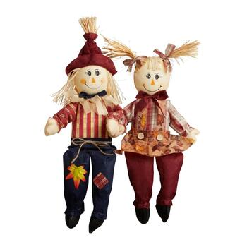 "24"" Red Standing Scarecrow Couple Set, 2-Piece"