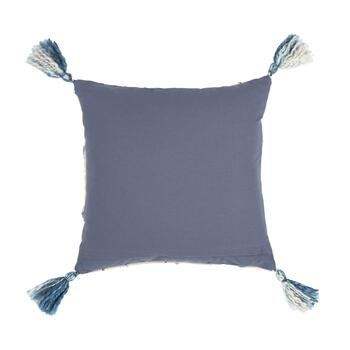 "The Grainhouse™ 20"" Blue/White Geo Embroidered Square Cotton Throw Pillow view 2"