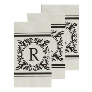 "3-Pack Monogram ""R"" Guest Towels, 45-Count"