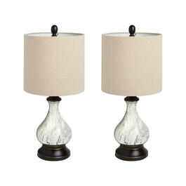 "22.25"" Antique Glass Teardrop Table Lamps, Set of 2 view 1"