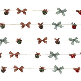 9' Red/Green/Brown Bells & Bows String Garlands, Set of 4