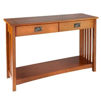 Mission-Style 2-Drawer Wood Console Table