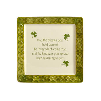 """The Dreams You Hold Dearest"" Celtic Border Square Platter view 2"