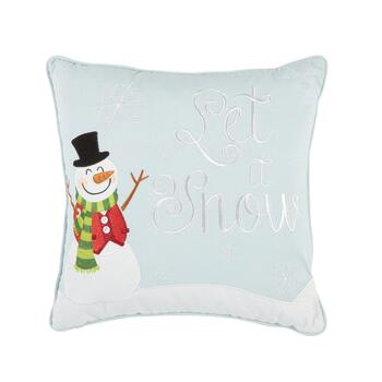 """Let It Snow"" Snowman Feather-Fill Throw Pillow"