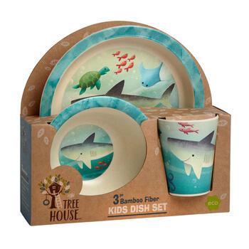 Shark Bamboo Dinnerware Set, 3-Piece view 1