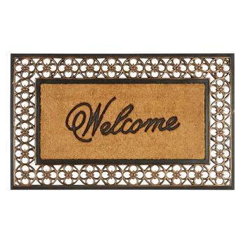 "Oversized ""Welcome"" Coir Door Mat with Flower Border"