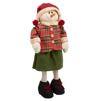 "28"" Plaid Coat/Solid Green Skirt Standing Snow Girl"