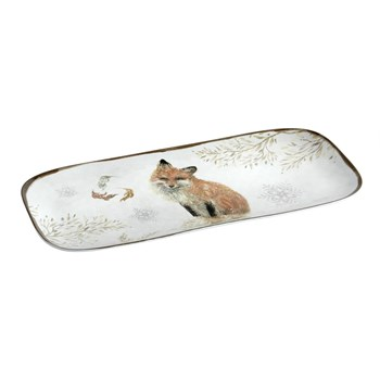 "15"" Winter Woodland Fox Melamine Tray"