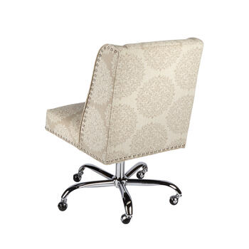 Medallion Patterned Upholstery Rolling Office Chair with Nailheads view 2