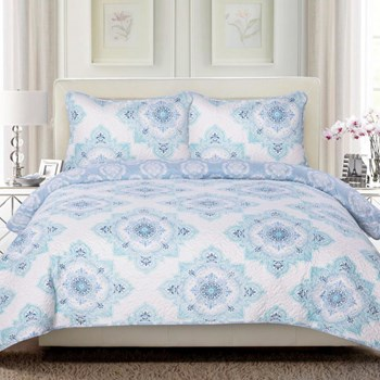 Blue Embroidered Quilt Set with Tote Bag