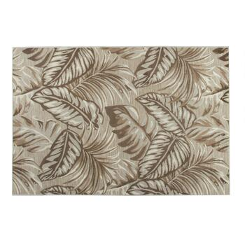 "4'7""x6'6"" Beige Palm Leaf Indoor/Outdoor Area Rug"