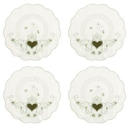 Ivory/Green Heart and Shamrocks Cutwork Placemats, Set of 4