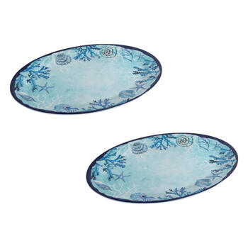 Blue Starfish and Shells Oval Melamine Platters, Set of 2 view 1