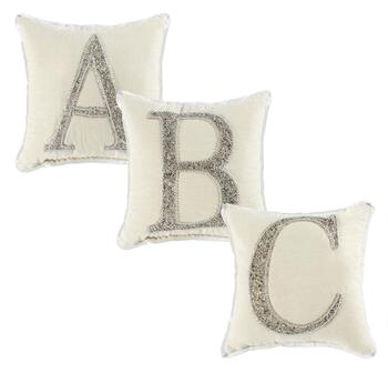 Silver Beaded Monogram Square Throw Pillow