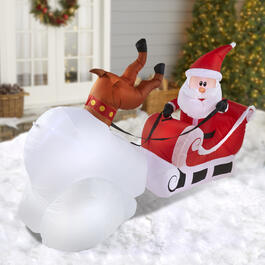 7' Airblown® Inflatable Lighted Crashing Santa view 1