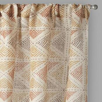 Hawthorn Geometric Squares Window Curtains, Set of 2