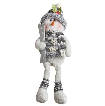 "24"" Dangling Legs Sitting Snowman with Skis"