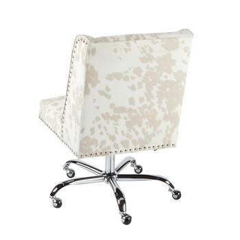 Cow Upholstery Rolling Office Chair with Nailheads view 2