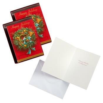 "36-Count ""Happy Holidays"" Wreath Greeting Cards, Set of 2"
