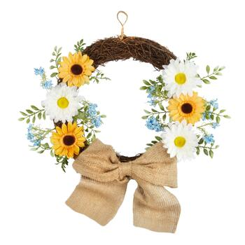 "22"" Burlap Bow Artificial Sunflower Wreath"