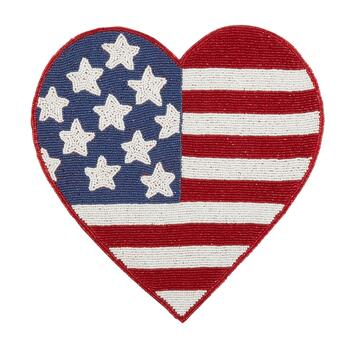 Beaded American Flag Heart-Shaped Placemat