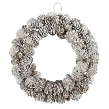 "19"" White Snowy Pinecone Wreath"