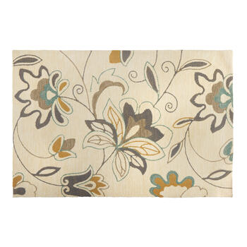 Teal/Gray Floral All-Weather Hand-Hooked Rug view 1