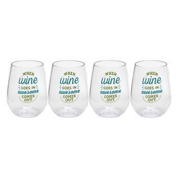 "Stemless ""When Wine Goes In Awesome Comes Out"" Wine Glasses, Set of 4"