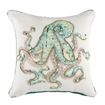 octopus square throw pillow